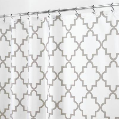 72 in. x 72 in. Moroccan Trellis Shower Curtain in Gray