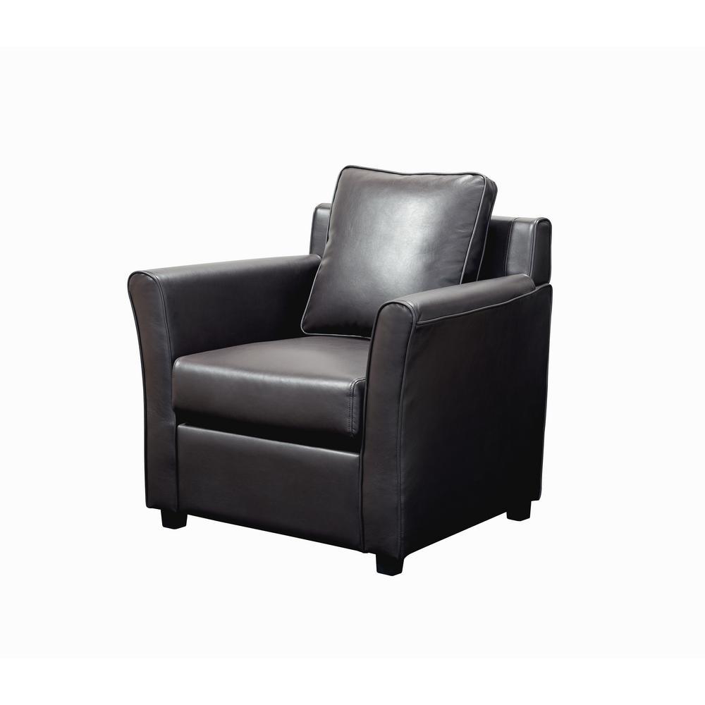 Beltram Dark Gray Leather Accent Arm Chair
