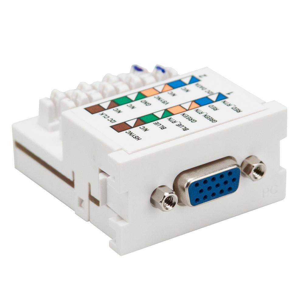 VGA 110-Termination Multimedia Outlet System (MOS) Monitor Module, White