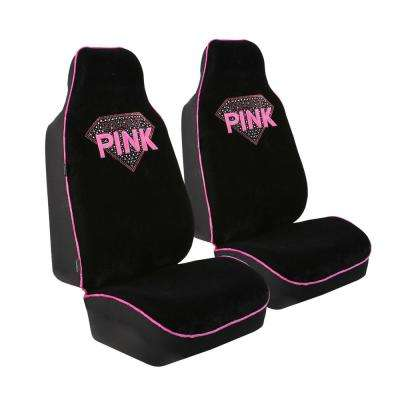 Velour 47 in. x 23 in. x 1 in. Rhinestone Diamond Half Set Front Seat Covers