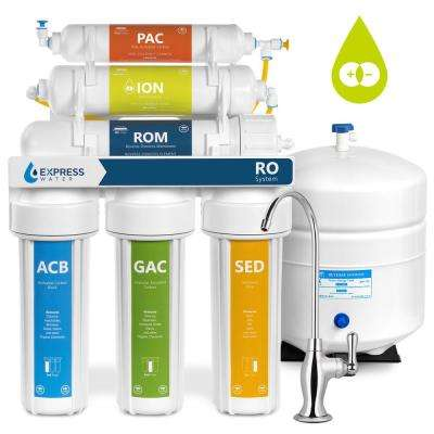 Deionization Under Sink Reverse Osmosis Water Filtration System - 6 Stage w/ Faucet & Tank - 100 GPD w/ Pressure Gauge