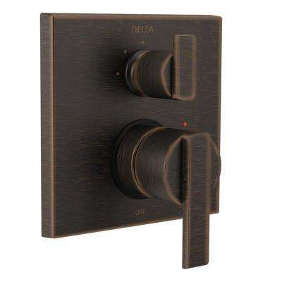 Ara Modern 2-Handle Wall-Mount Valve Trim Kit with 3-Setting Integrated Diverter in Venetian Bronze (Valve Not Included)