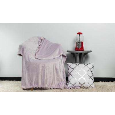 Oria Lavender Pom Pom Throw