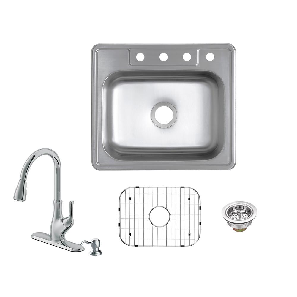 Glacier bay all in one drop in 20 gauge stainless steel 25 - Glacier bay drop in bathroom sink ...