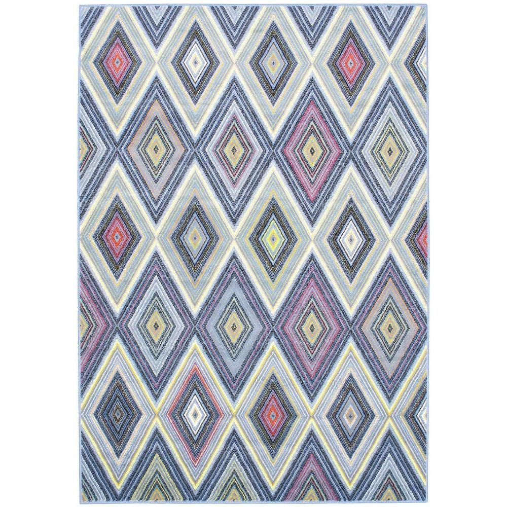 Ecarpet Gallery Chroma Diamond Light Blue 5 Ft X 8 Ft