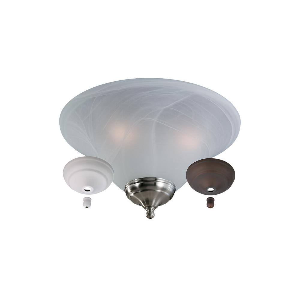 3-Light White Faux Alabaster Bowl Ceiling Fan Light Kit