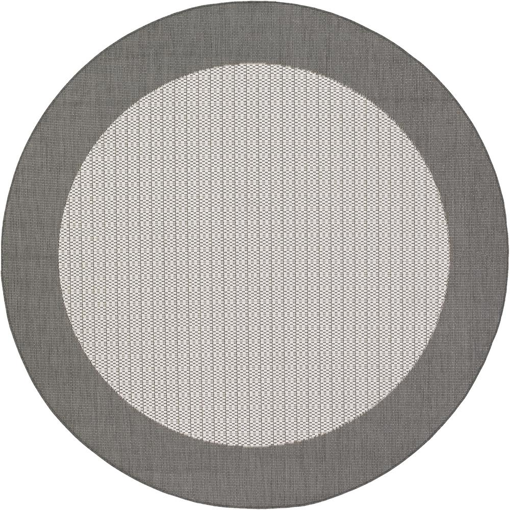 Couristan Recife Checkered Field Grey White 9 Ft X 9 Ft Round Indooroutdoor Area Rug