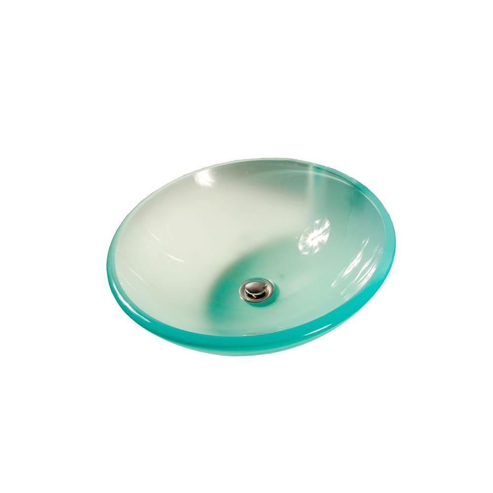 Filament Design Cantrio Tempered Glass Vessel Sink in Frosted