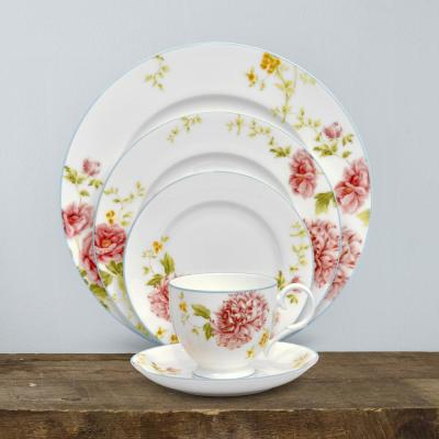 Peony 5-Piece Formal white/pink Bone China Dinnerware Set (Service for 1)