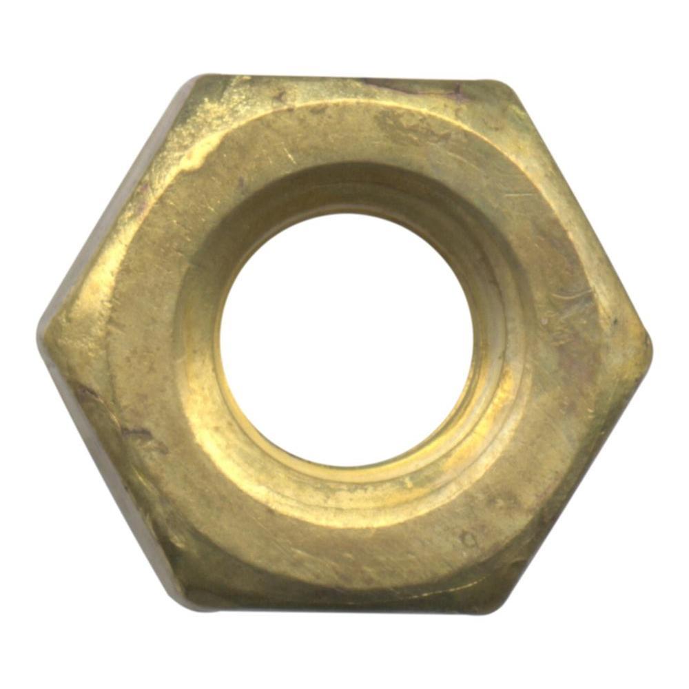 Everbilt 1/4 in. x 20 tpi Brass Machine Screw Nut (4-Piece)