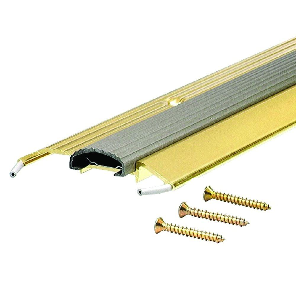 M D Building Products Deluxe Low 3 3 4 In X 33 1 2 In Brite Gold Aluminum Threshold With Vinyl Seal 99017033500 The Home Depot