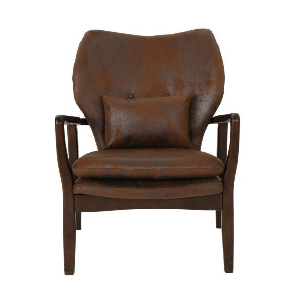 Noble House Haddie Mid-Century Modern Brown Microfiber Club Chair 304781