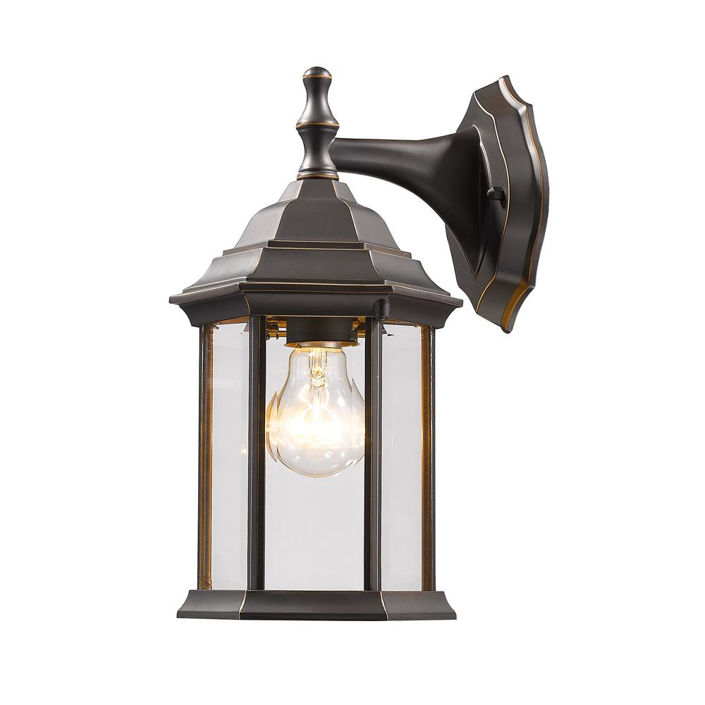 Remington 1-Light Oil Rubbed Bronze Outdoor Wall Lantern with Clear Beveled