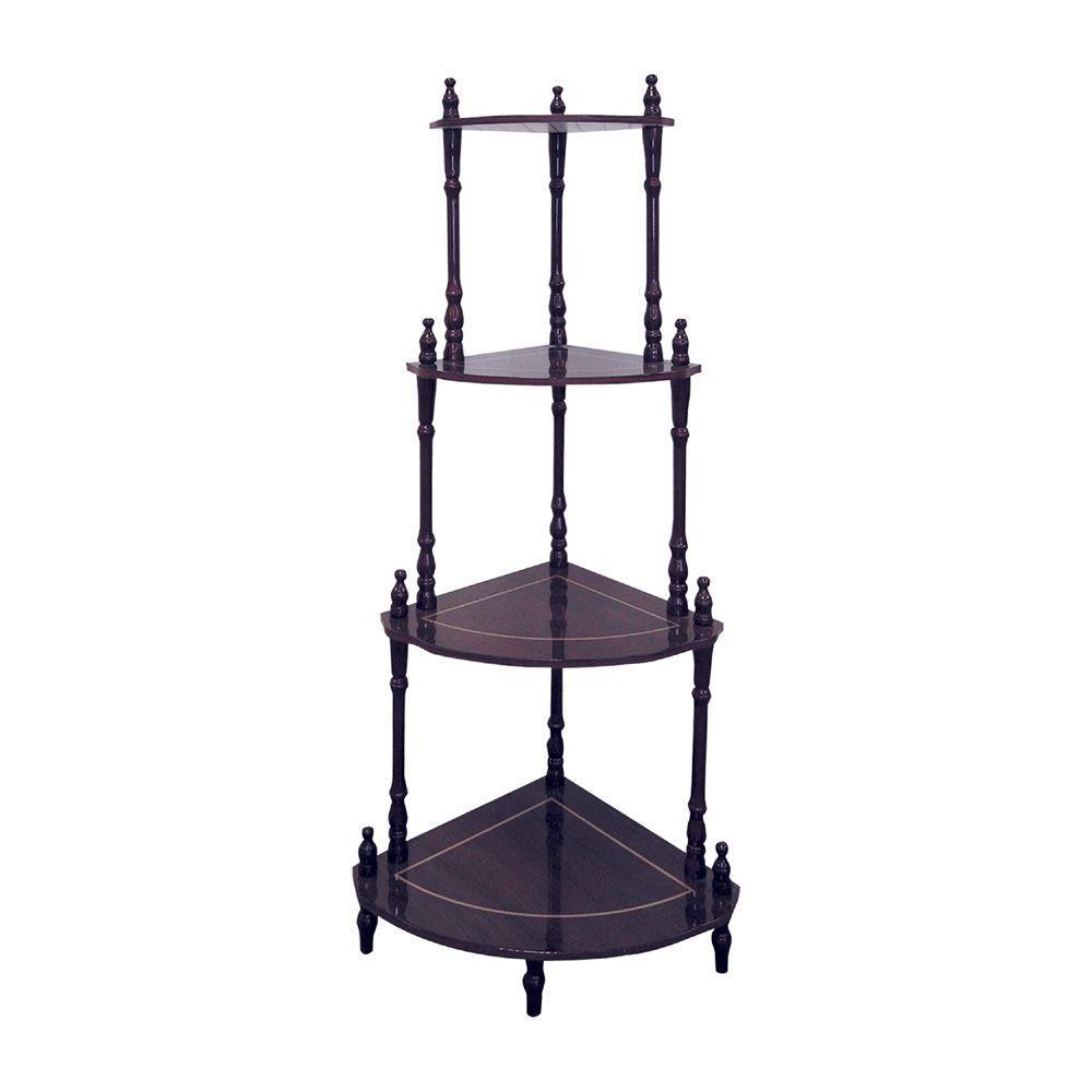 Cherry 4-Shelf Corner Stand