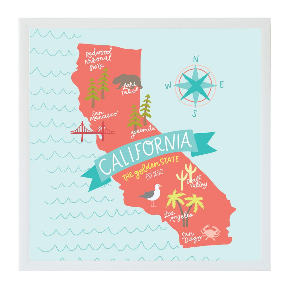 Alexa California Map Art Board, WHITE FRAME, Magnetic Memo Board