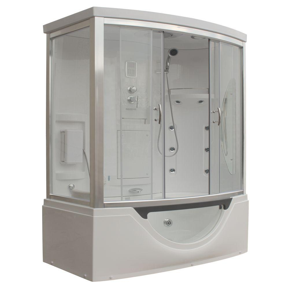 Steam Planet Hudson Plus 72 in. x 39 in. x 88 in. Steam Shower Enclosure Kit with Whirlpool Tub in White