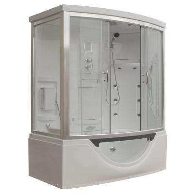 Hudson Plus 72 in. x 39 in. x 88 in. Steam Shower Enclosure Kit with Whirlpool Tub in White