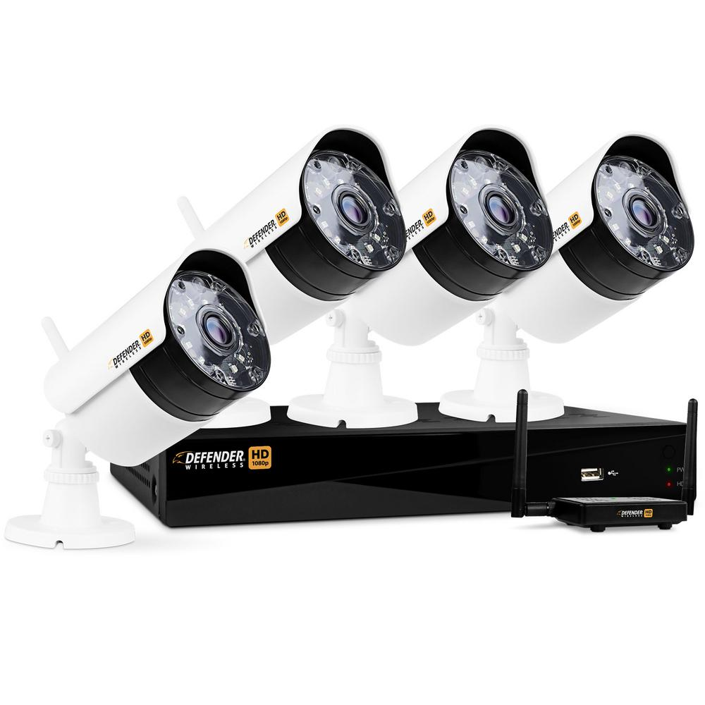 Wireless HD 1080p 4-Channel 1TB DVR Security System with 4-Bullet Cameras Defender 4