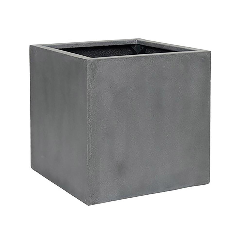 20 in. x 20 in. Matte Grey Fiberstone Square Cube Planter