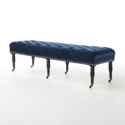 Clementine Navy Blue Bench with Casters (18 in. x 64.75 in. x 22.50 in.)