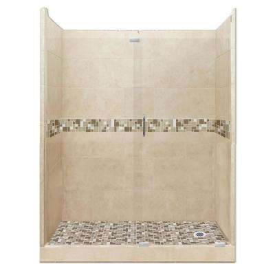Tuscany Grand Slider 42 in. x 60 in. x 80 in. Right Drain Alcove Shower Kit in Brown Sugar and Chrome Hardware