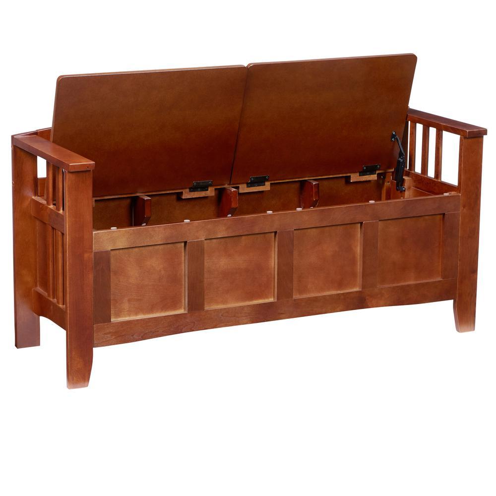 Linon Home Decor Walnut Storage Bench With Split Seat 85001walz 01 Kd U The Home Depot