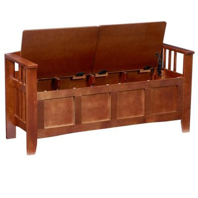 Walnut Storage Bench with Split Seat