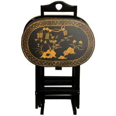 Oriental Furniture 17 in. x 11 in. Rosewood TV Tray in Antique Gold (4-Pack)