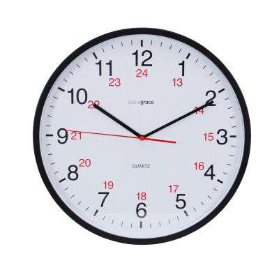 6-Pack Synchro Silent Wall Clock, 12 in., 3/4 in. D - Black