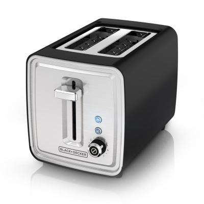 2-Slice Black and Stainless Steel Wide-Slot Toaster