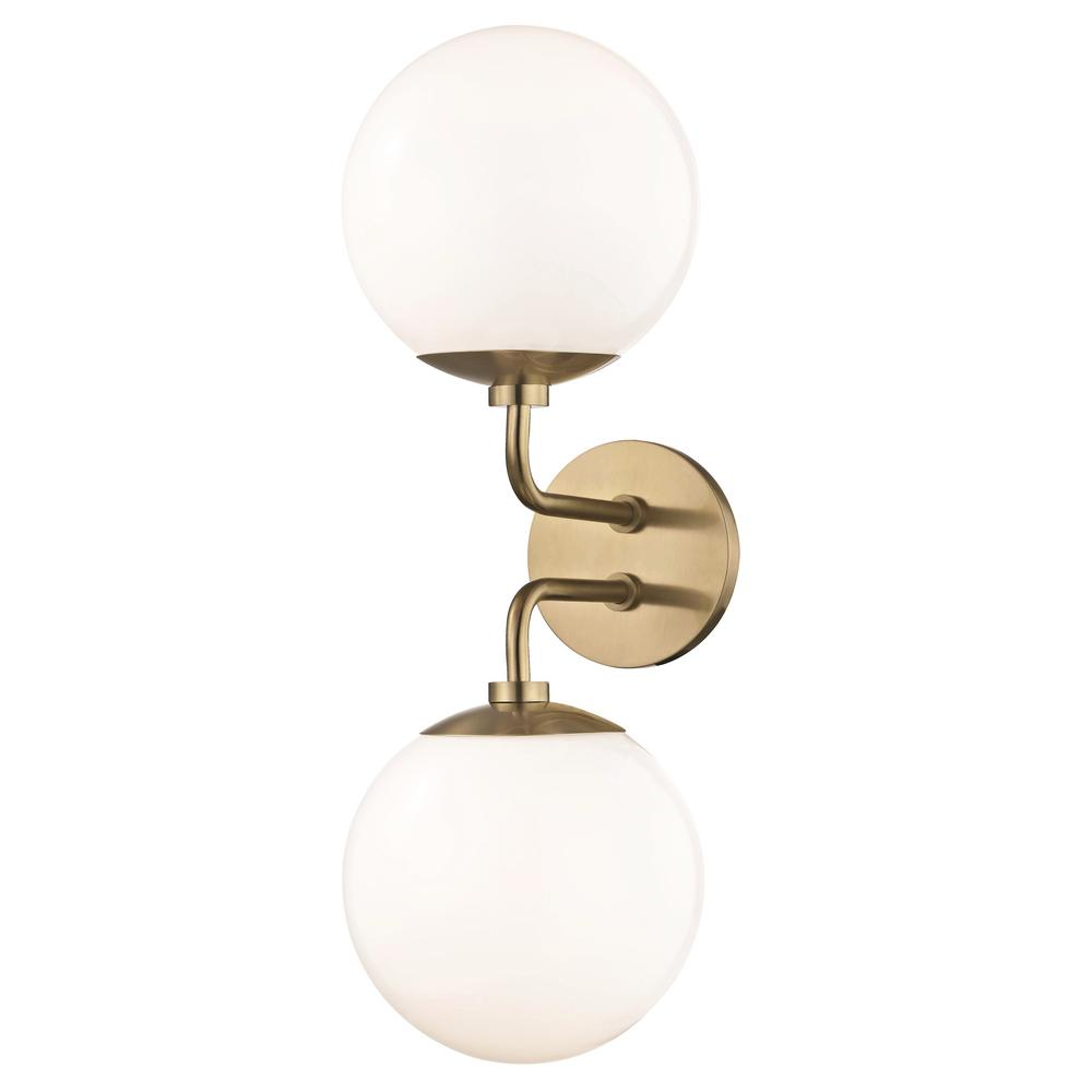 Mitzi by Hudson Valley Lighting Stella 2-Light Aged Brass Wall Sconce with Opal Glossy Glass