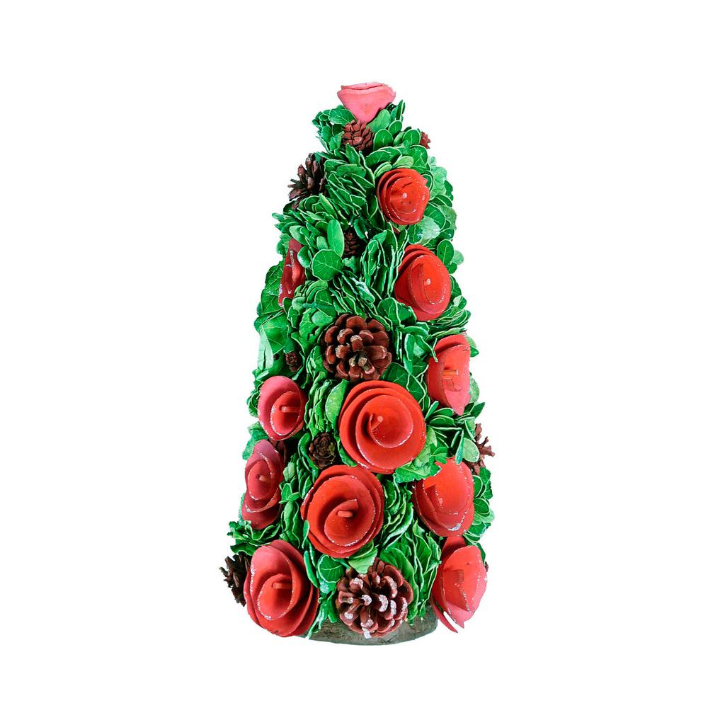 15.75 in. Red Wood Rose Flower and Pine Cones Christmas Cone
