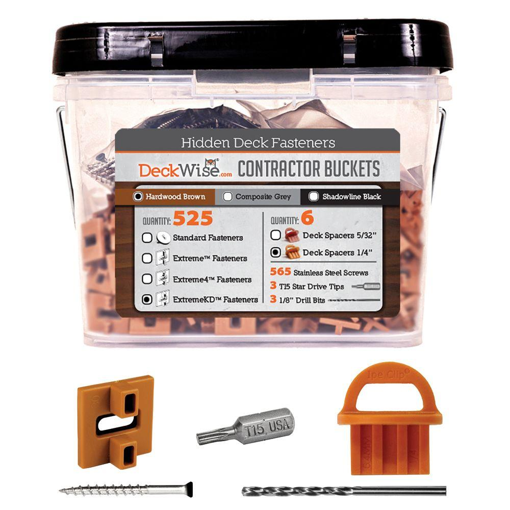 ExtremeKD Ipe Clip Brown Biscuit Style Hidden Deck Fastener Kit for