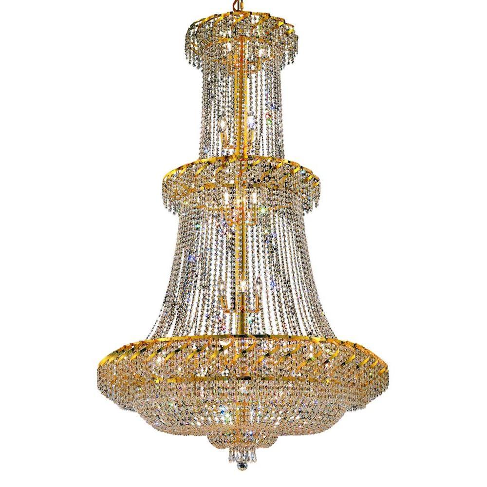 Elegant Lighting 32-Light Gold Chandelier with Clear Crystal