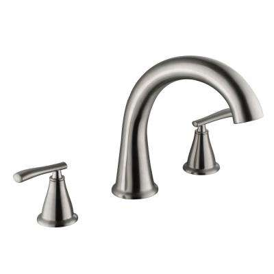 Zuri 2-Handle Deck-Mount Roman Tub Faucet in Brushed Nickel
