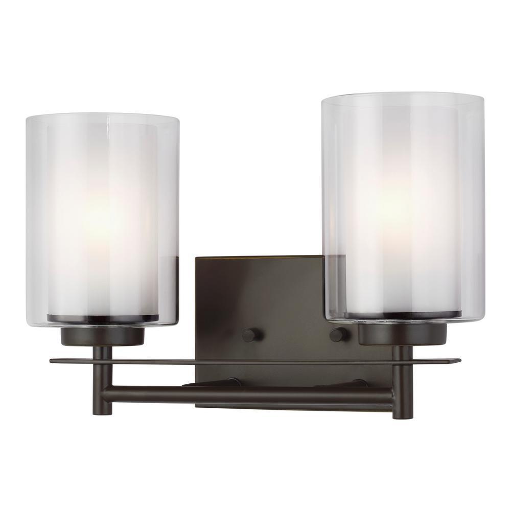 Elmwood Park 13.25 in. W 2-Light Heirloom Bronze Vanity Light