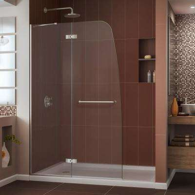 Aqua Ultra 36 in. x 48 in. x 74.75 in. Semi-Framed Hinged Shower Door in Brushed Nickel with Center Drain Acrylic Base