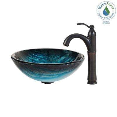 Ladon Glass Vessel Sink in Blue with Riviera Faucet in Oil Rubbed Bronze