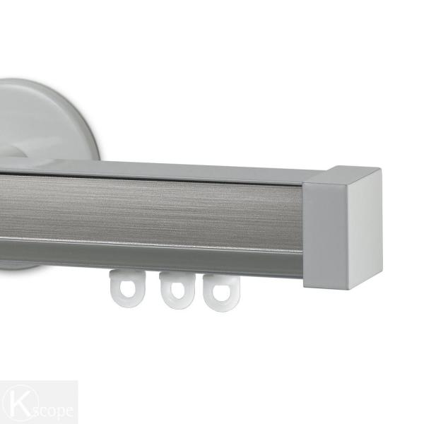 Nexgen 48 in. Non-Adjustable Single Traverse Window Curtain Rod Set with White Endcap in Smoke Applique