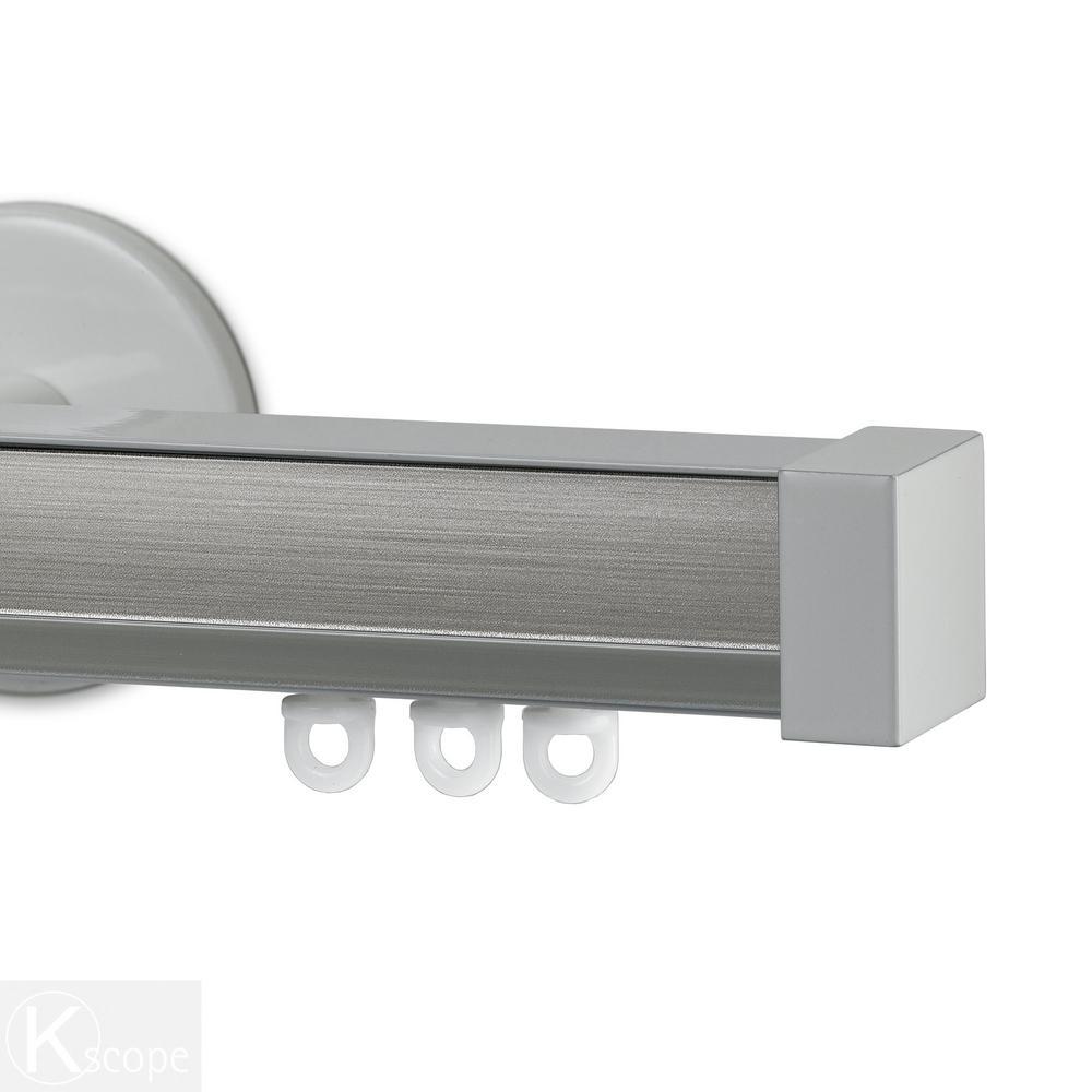 Nexgen 72 in. Non-Adjustable Single Traverse Window Curtain Rod Set with White Endcap in Smoke Applique