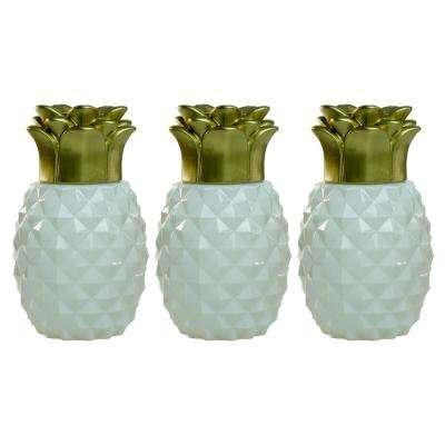 6.5 in. Pineapple Paradise Glass Table Torch White/Gold (3-Pack)