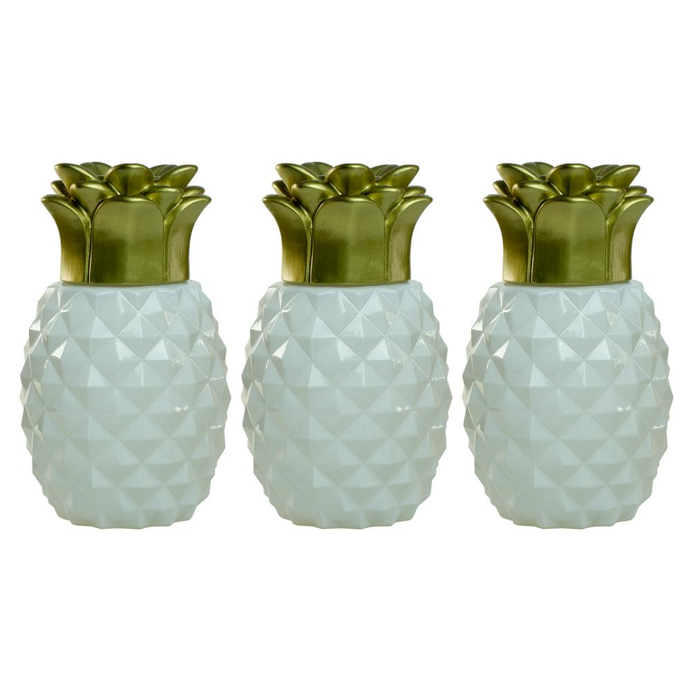 TIKI 6.5 In. Pineapple Paradise Glass Table Torch White/Gold (3 Pack