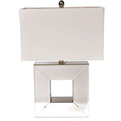 Reflections 23 in. Mirror Table Lamp with White Linen Shade