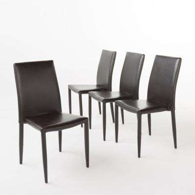 Comstock Brown Bonded Leather Stacking Chairs (Set of 4)