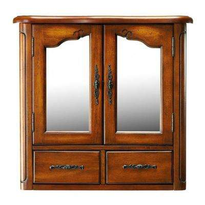 Provence 24 in. W x 23 in. H x 8 in. D Bathroom Storage Wall Cabinet in Chestnut
