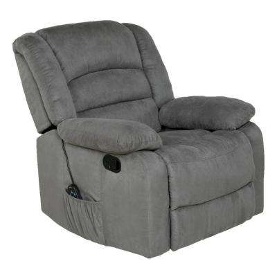 Longstreet Grey Microfiber Massage Rocker Recliner with Heat and Dual USB