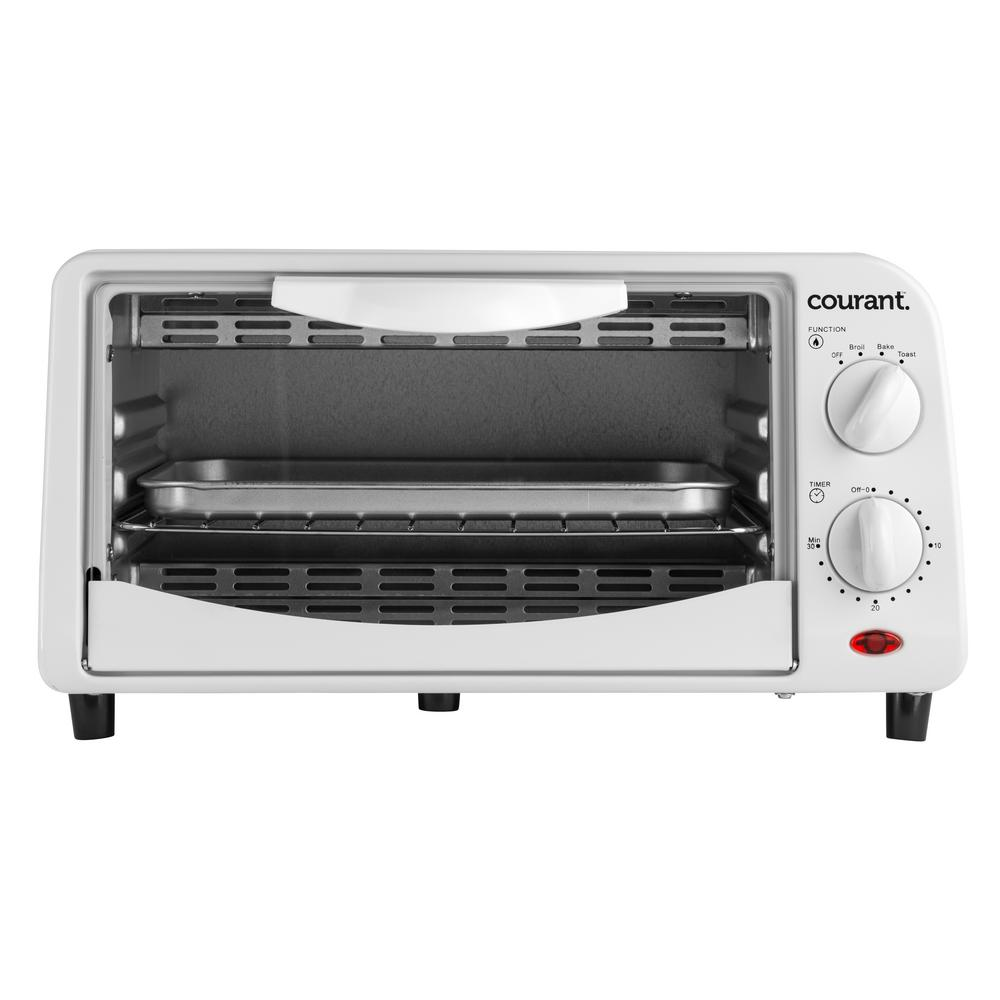 Slice Toaster Oven With Spots ~ Courant slice white countertop toaster oven with bake