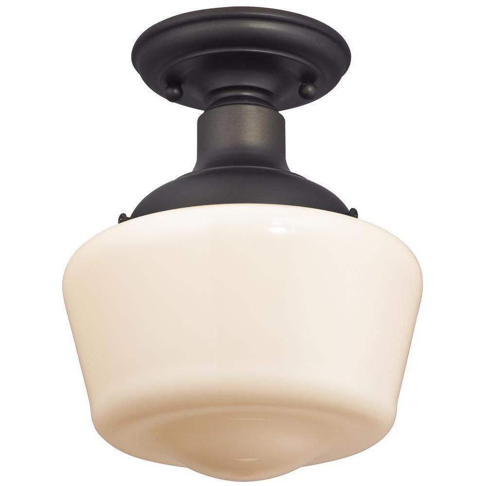 Scholar 1-Light Oil-Rubbed Bronze Semi-Flush Mount Light