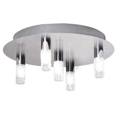 5-Light Chrome LED Ceiling Lamp with Clear and Frosted Short Tubes