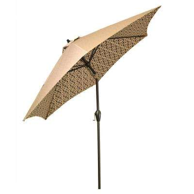 9 ft. Aluminum Market Tilt Patio Umbrella in Black Trellis